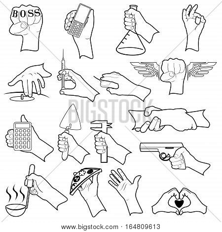 Set Of Hands. The two layers: a white background and the