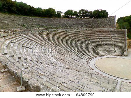 The Incredible Well Preserved Ancient Theater of Epidaurus on Peloponnese Peninsula of Greece, UNESCO World Heritage