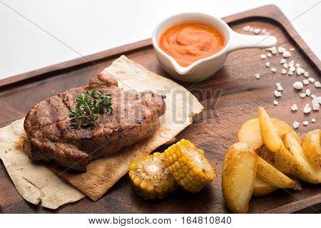 Pork Steak On A Pita.