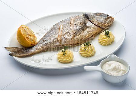 Roasted sea bass on the plate. Lemon mashed potatoes