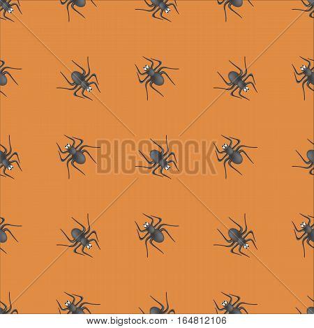 Poisonous Spider Seamless Pattern on Orange Background