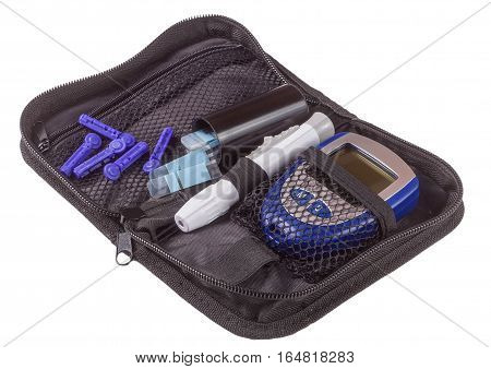 The blood glucose meter in bag isolated on white background.