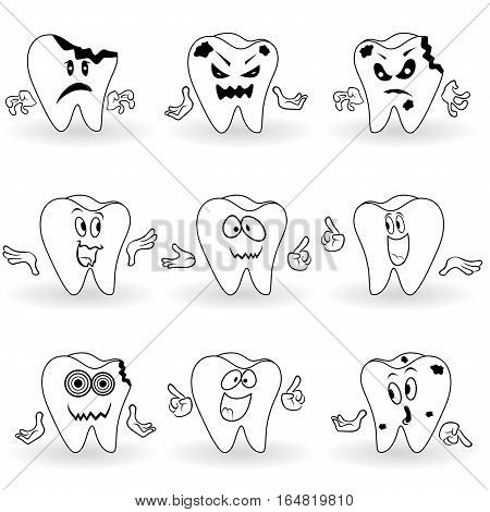 Set Of Nine Characters Of Funny Cartoon Teeth