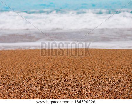 Beach sand turquoise sea. Beach sand perspective coastline shore