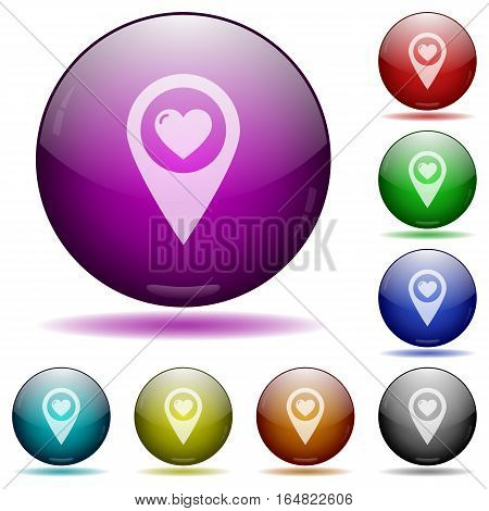 Favorite GPS map location icons in color glass sphere buttons with shadows