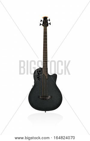 Beautiful black plastic electric guitar bass of the original form isolated on white background