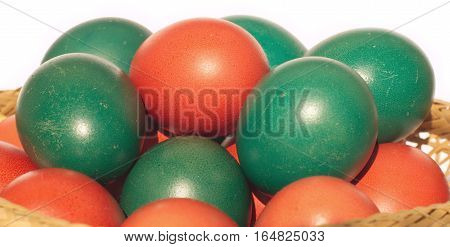 Many Easter eggs with color painted shells closeup