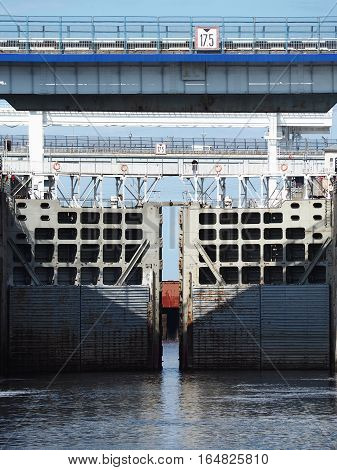 NOVOCHEBOKSARSK CHUVASHIA RUSSIA - JUNE 2016: Opening the sash lock chamber. The road over the gateway.