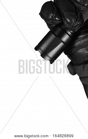 Gloved Hand Holding Tactical Flashlight, Bright Light Emitting Brightly Lit Serrated Strike Bezel, Black Grain Leather Glove And Cop Jacket, Large Detailed Isolated Vertical Closeup, Patrolling Police Security Guard Staff Policeman, Covert Operations Patr