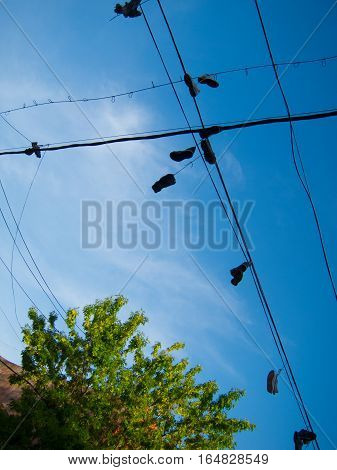 Shoes hanging from wire against blue sky, a bit of a cloud, in La Boca