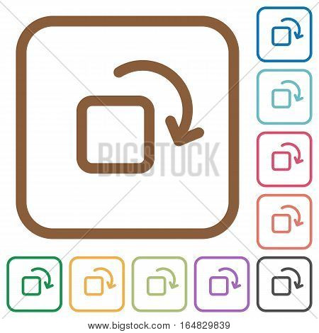 Rotate element simple icons in color rounded square frames on white background