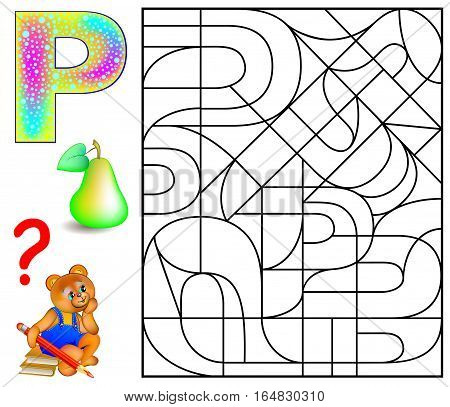 Educational page with letter P for study English letters. Logic puzzle. Find and paint 5 letters P. Vector image.
