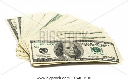 hundred dollars on white background