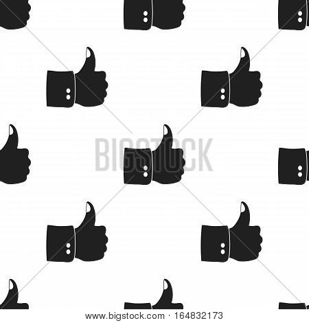 Patriotic thumb up icon in black style isolated on white background. Patriot day pattern vector illustration.