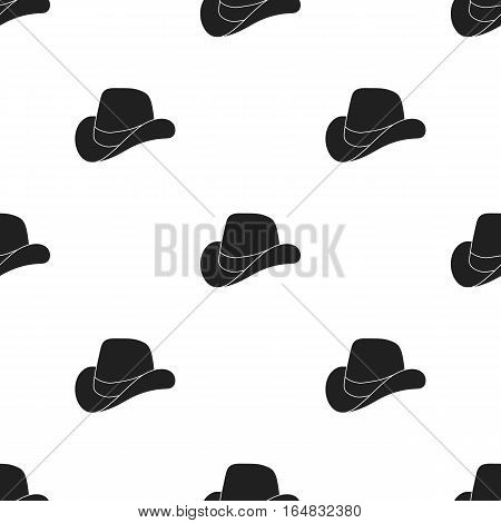 Cowboy hat icon in black style isolated on white background. Patriot day pattern vector illustration.