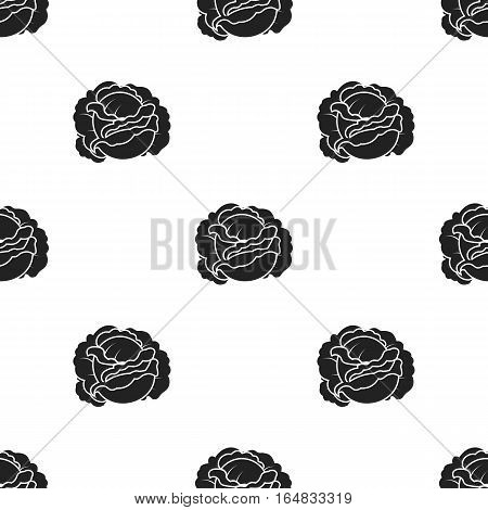 Cabbage icon in black style isolated on white background. Plant pattern vector illustration.