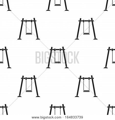 Swing icon in black style isolated on white background. Play garden pattern vector illustration.
