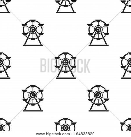 Ferris wheel icon in black style isolated on white background. Play garden pattern vector illustration.