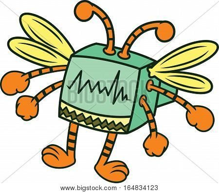 Computer Bug Cartoon Character. Vector Illustration Isolated on White.