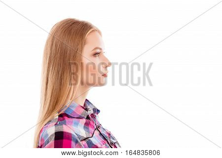 Side-face Portrait Of A Confident Woman Isolated On White Background