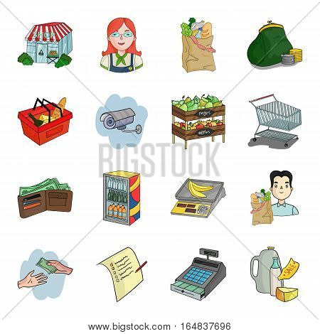 Supermarket set icons in cartoon design. Big collection of supermarket vector symbol stock illustration