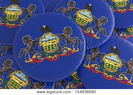 US State Buttons: Pile of Pennsylvania Flag Badges 3d illustration
