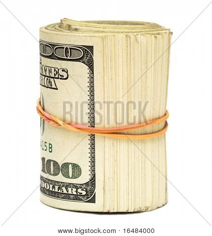 copula of dollars on white background
