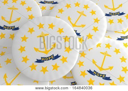 US State Buttons: Pile of Rhode Island Flag Badges 3d illustration