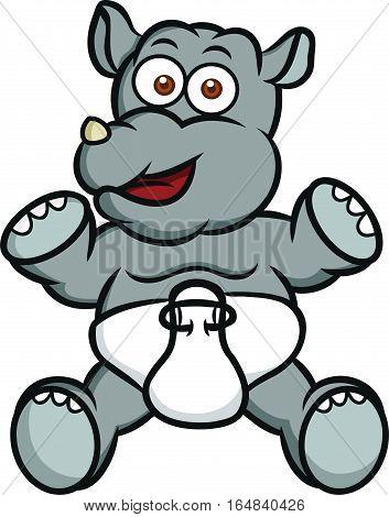 Baby Rhino Cartoon Animal Character. Vector Illustration Isolated on White.