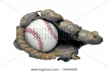 End View of Baseball in Glove