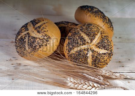 Small bread with poppy seeds and Wheat on wooden background