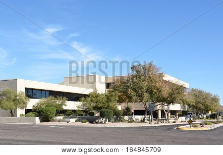 SCOTTSDALE ARIZONA - DECEMBER 9 2016: One Civic Center. The building houses city offices including Parks and Recreation and Planning and Development.