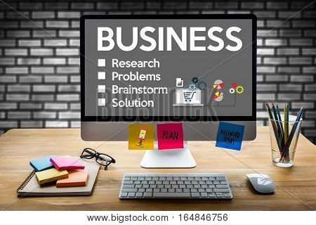 Business Start Up Technology Strategy Goals , Businessman Hand Working On Laptop Computer
