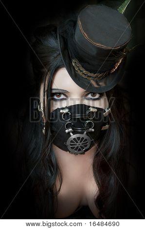 Model Wearing Steampunk Mask