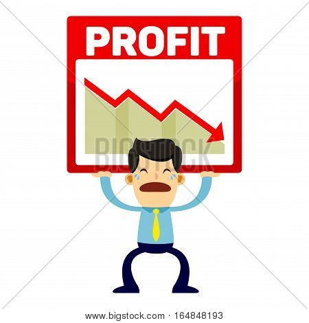 Businessman lifting a declining sales chart with a sad face