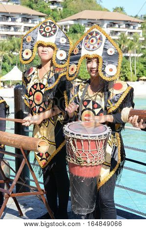 BORACAY PHILIPPINES - APRIL 7 2016: Shangri La Boracay Resort and Spa Welcome Group. The luxury resort is adjacent to an eco-reserve.