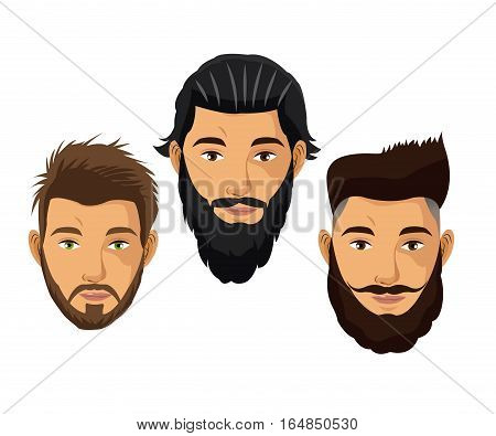 set portrait man hair and beard model vector illustration eps 10