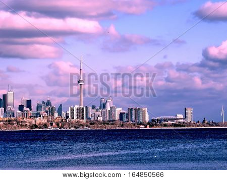 Beautiful panorama of Downtown from Humber Bay of the Lake Ontario in Toronto Canada January 6 2017