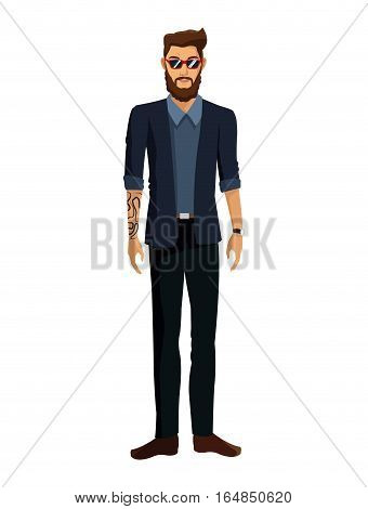 man casual fashion jacket tattoo bearded glasses vector illustration eps 10