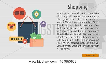 Shopping Conceptual Banner | Great flat illustration concept icon and use for business, people, marketing, working, idea, event and much more.