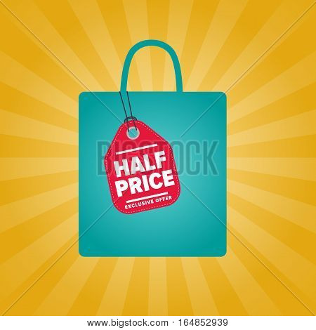 Half price sale sticker on package vector illustration. Best price tag, exclusive offer discount banner, advertisement retail label, special shopping symbol. Modern colorful graphic style offer sign