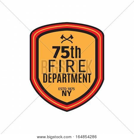 Fire department badge with shield, isolated vector illustration