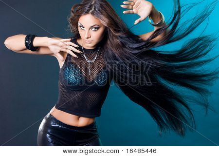 beautiful fashionable woman with long hair