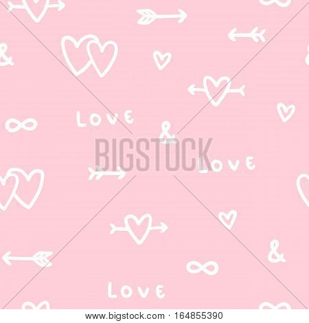 Cute romantic love seamless pattern. Vector hand drawn background.