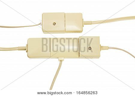 Telephone Plugs and Sockets on White Background