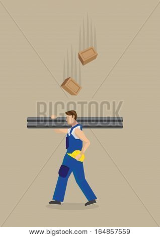 Worker carrying metal poles on shoulders with yellow helmet on hand unaware of falling bricks above him. Vector illustration on workplace hazard concept isolated on plain brown background.