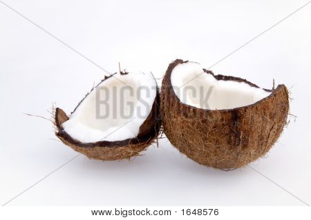 Broken Coconut On White Background