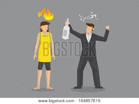 Wife feeling angry and pissed off at drunk husband. Cartoon vector illustration on domestic problems isolated on grey background.