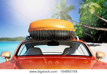 Car with roof rack near seashore. 3D illustration.