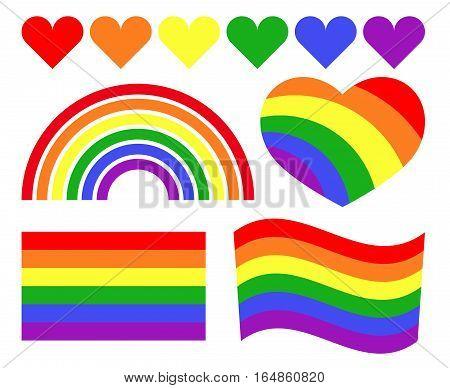 Vector gay LGBT rainbow symbols. Homosexual pride banner icon illustration